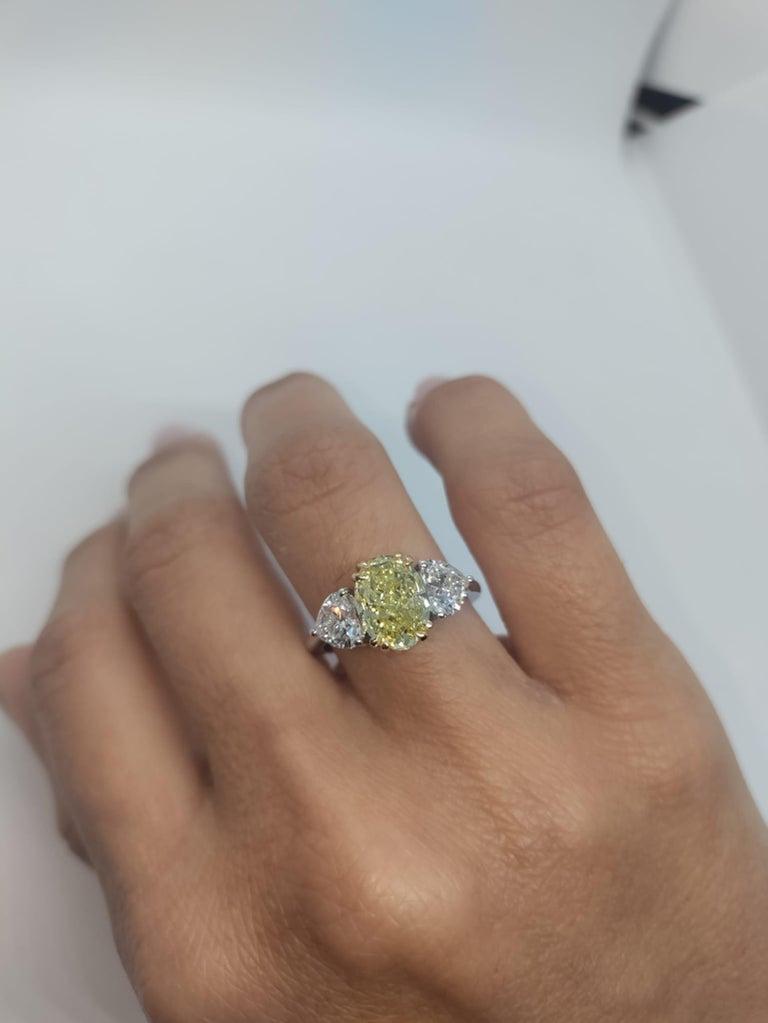 Oval Cut GIA Certified 3.05 Carat Internally Flawless Fancy Yellow Oval Diamond Ring For Sale