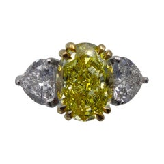 GIA Certified 3.05 Carat Internally Flawless Fancy Yellow Oval Diamond Ring