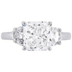 GIA Certified 3.05 Carat Radiant Cut Diamond Three-Stone Engagement Ring