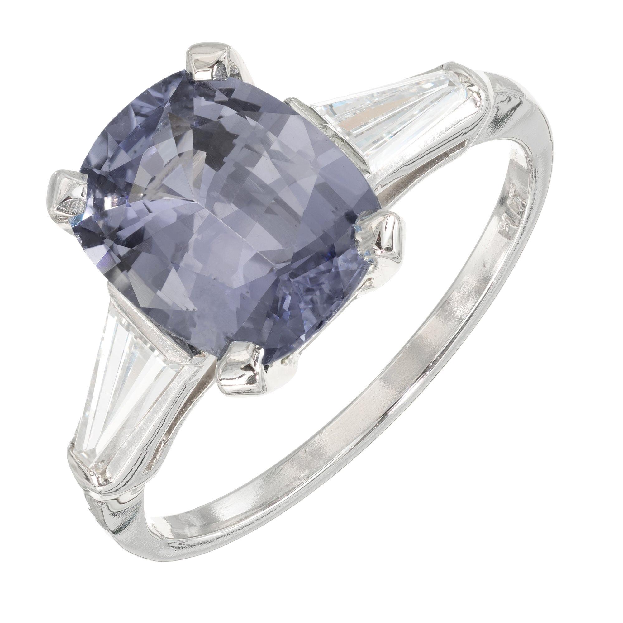 GIA Certified 3.06 Carat Ceylon Oval Sapphire Diamond Platinum Engagement Ring