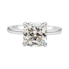 GIA Certified 3.06 Carat Cushion Cut Diamond Solitaire Engagement Ring