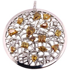 GIA Certified 3.06 Carat Natural Fancy Intense Yellow-Orange Diamond Pendant