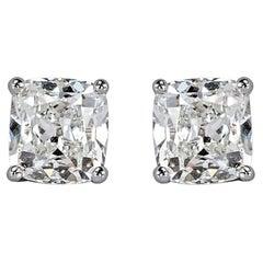 2 Carat Old Mine Cut Antique Diamond Stud Earrings E/F Color 100% Eye Clean