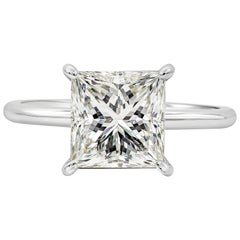 GIA Certified 3.06 Carat Princess Cut Diamond Solitaire Engagement Ring