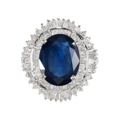 GIA Certified 3.06 Carat Sapphire Diamond White Gold Engagement Ring
