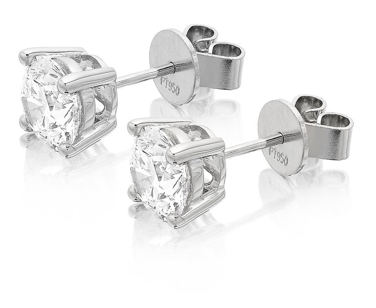 Round Cut GIA Certified 3.06ct G VS1 Single Stone Solitaire Stud Round Diamond Earrings  For Sale