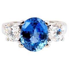 GIA Certified 3.07 Carat Natural No Heat Sapphire Diamond Ring Unheated 14 Karat