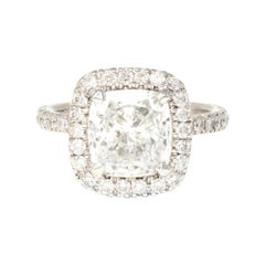 GIA Certified 3.07 Cushion Cut Solitaire Diamond Halo Ring in Platinum