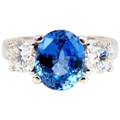 GIA Certified 3.07 Carat Natural No Heat Sapphire Diamond Ring Unheated 14 Karat