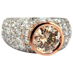 GIA Certified 3.08 Carat Fancy Light Brown Round Cut Diamond Ring 14 Karat