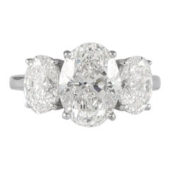 Alexander GIA Certified 3.08 Carat with 2.01 Carat Oval Cut Diamonds Ring 18k