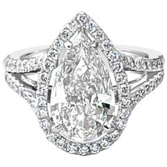 GIA Certified 3.09 Carat Pear Shape Diamond Pavé Ring with Halo and Split Shank