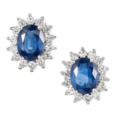 GIA Certified 3.10 Carat Cornflower Blue Sapphire Diamond Gold Stud Earrings