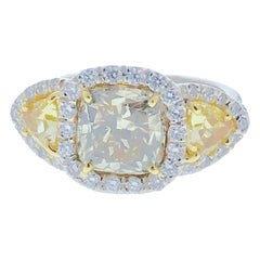 GIA Certified 3.10 Carat Fancy Greenish Yellow Cushion Diamond Ring in Platinum