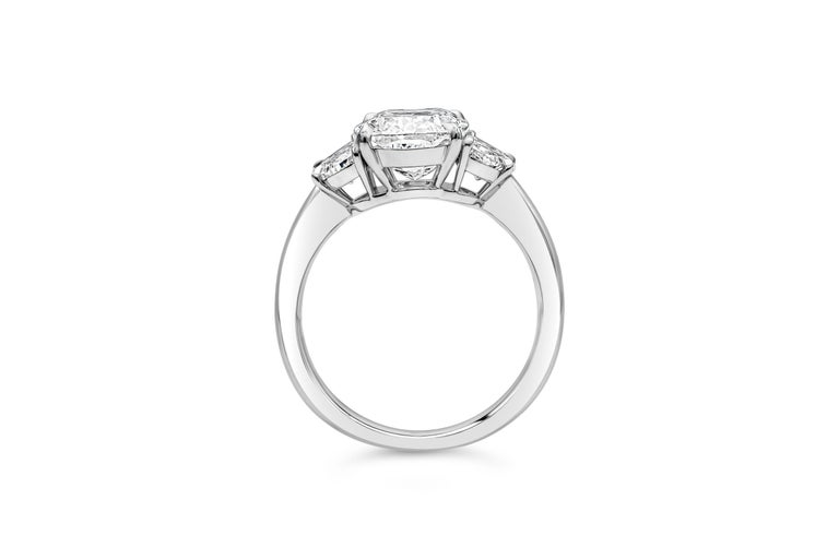 Cushion Cut GIA Certified 3.11 Carat Cushion Diamond Three-Stone Engagement Ring For Sale