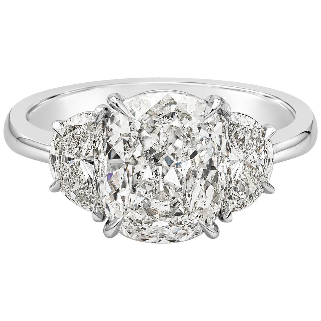 GIA Certified 3.11 Carat Cushion Diamond Three-Stone Engagement Ring