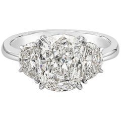 GIA Certified 3.11 Carat Cushion Diamond Three-Stone Engagement Ring