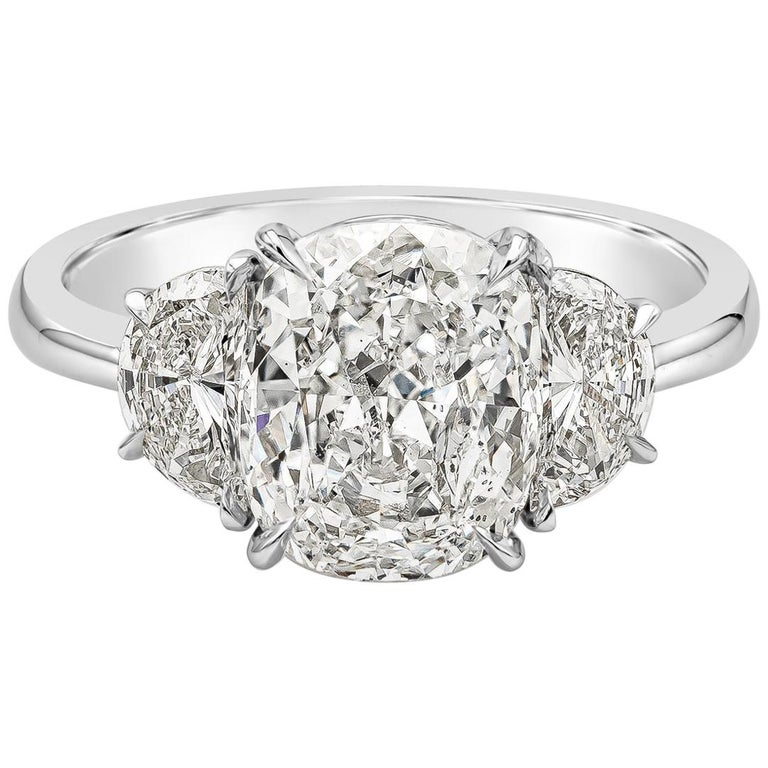 GIA Certified 3.11 Carat Cushion Diamond Three-Stone Engagement Ring For Sale