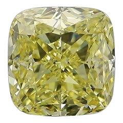 GIA Certified 3.11 Carat Fancy Intense Yellow Cushion Cut Diamond