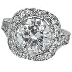 GIA-Certified 3.12 Carat E-VVS2 Diamond Engagement Ring in 18 Karat White Gold