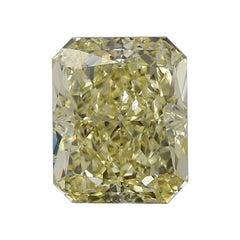 GIA Certified 3.13 Carat Long Fancy Yellow Radiant Diamond