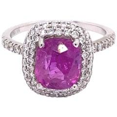 GIA Certified 3.13 Carat No Heat Natural Ceylon Pink Sapphire 14 Karat Gold Ring