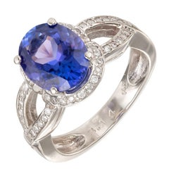 GIA Certified 3.14 Carat Oval Tanzanite Diamond Halo White Gold Cocktail Ring