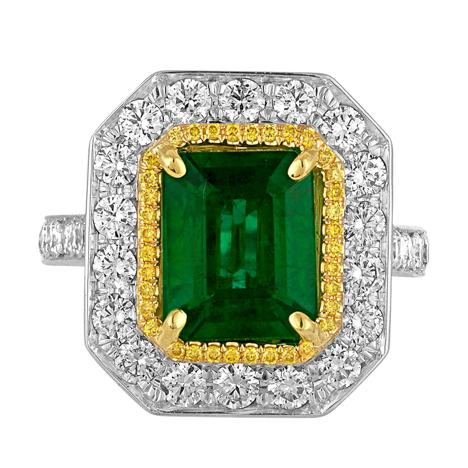 GIA Certified 3.15 Carat Emerald Double Halo Two Color Gold Cocktail Bridal Ring