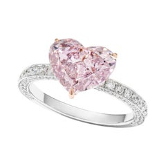 GIA Certified 3.15 Carat Fancy Pink Purple Heart Diamond Ring in 18k Rose Gold