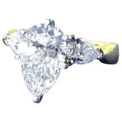 GIA Certified 3.15 Ct. VVS2, I Pear Cut Diamond Ring