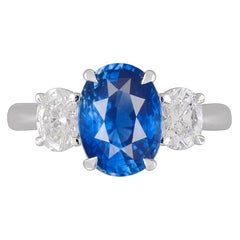 GIA Certified 3.16 Carat Oval Cut Ceylon Sapphire and 0.87 Carat Diamond Ring