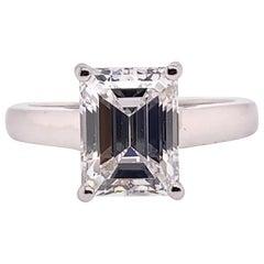 GIA Certified 3.17 Carat D VVS2 None Emerald Cut Diamond Engagement Gold Ring