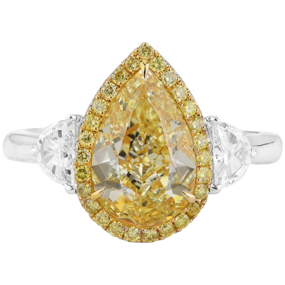 GIA Certified 3.17 Carat Pear Cut Diamond Ring
