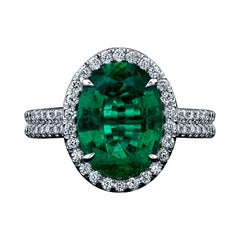 GIA Certified 3.17ct Oval Cut Green Emerald and Diamond Ring