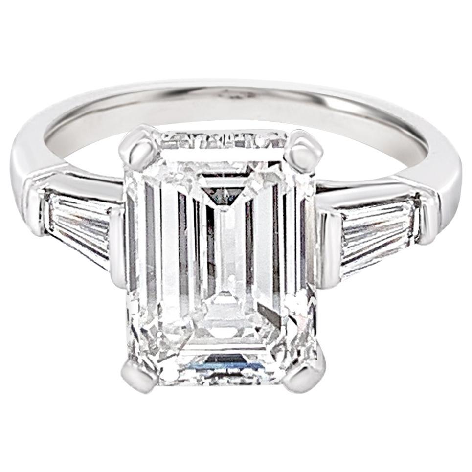 GIA Certified 3.18 Carat Emerald Cut Diamond Ring in Platinum