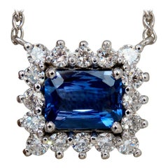 GIA Certified 3.18ct Natural No Heat Blue Sapphire Diamonds Necklace 14kt