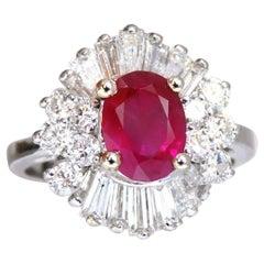 GIA Certified 3.18 Carat Natural Ruby Diamond Ring 14 Karat Gold Cluster