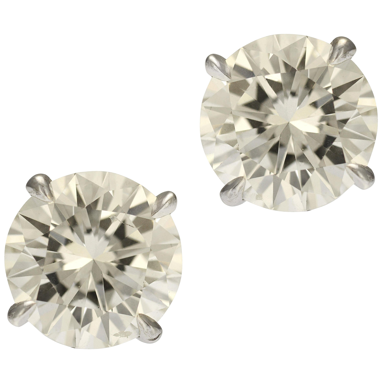 GIA Certified 3.19 Carat Diamond Stud Earrings