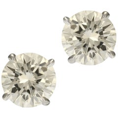 GIA Certified 3.19 Carat Diamond Stud Earrings