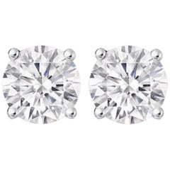 GIA Certified 3.20 Carat Diamond Studs E Color VS Clarity Triple Excellent Cut