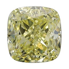 GIA Certified 3.21 Carat Fancy Yellow Cushion Diamond