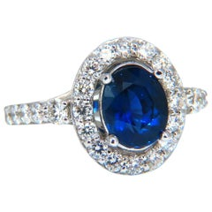 GIA Certified 3.21 Carat Natural No Heat Sapphire Diamond Ring Unheated 14 Karat