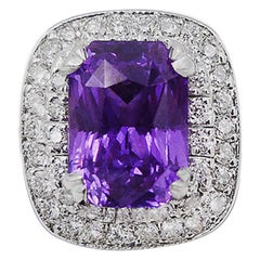 GIA Certified 3.21 Carat Purple Sapphire Cocktail Ring