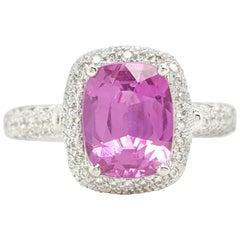 GIA Certified 3.23 Carat Pink Sapphire Diamond Halo Ring