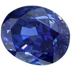Unheated GIA Certified 3.24 Carat Oval Blue Sapphire Loose Stone