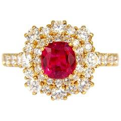 GIA Certified 3.24 Carat Red Origin Ruby Diamonds Ring 18 Karat Cocktail Petite