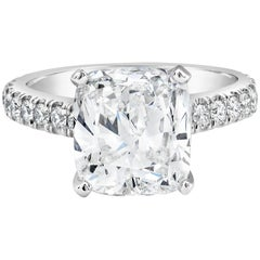Roman Malakov GIA Certified 3.25 Carat Cushion Cut Diamond Pave Engagement Ring