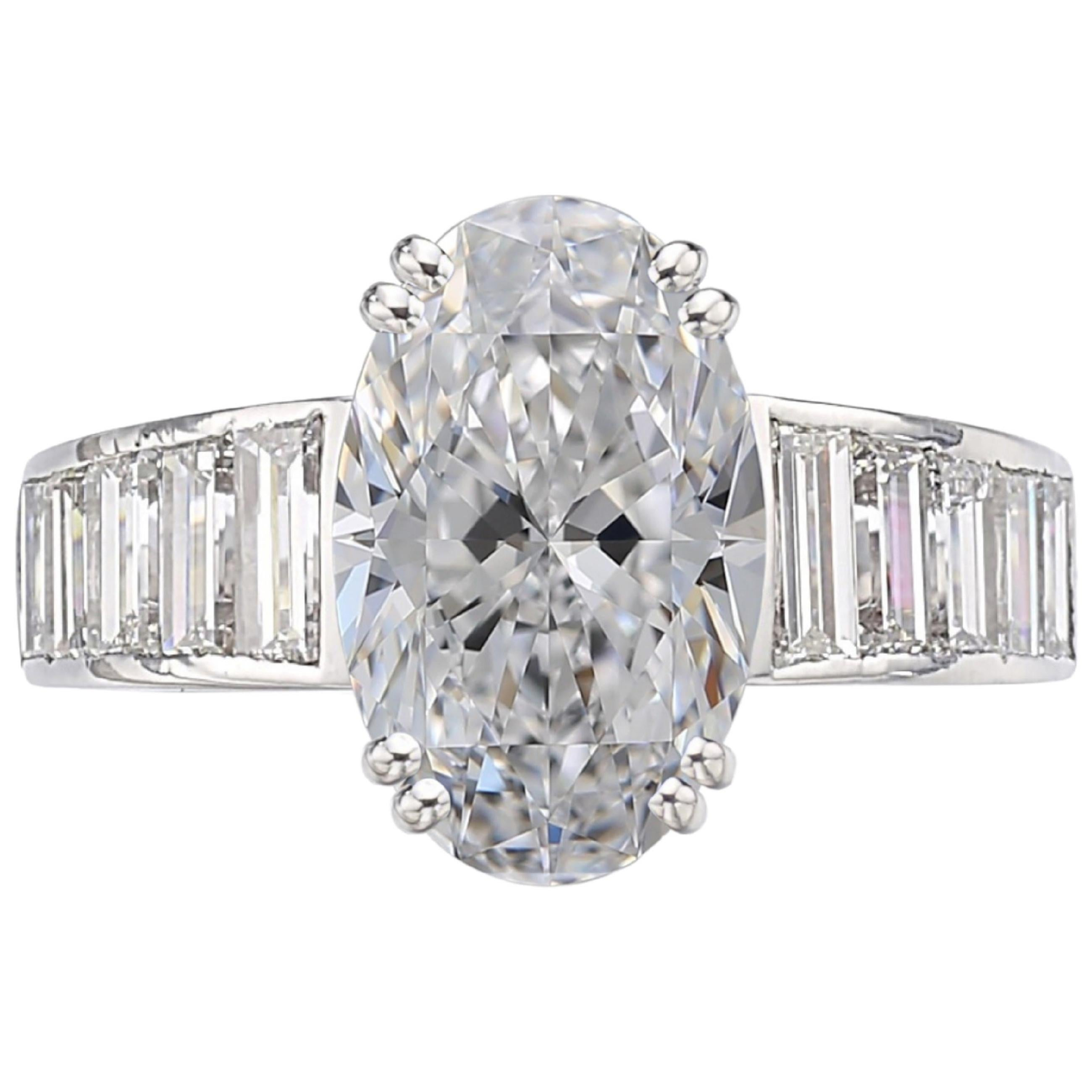 GIA Certified 3 Carat Oval Diamond Solitaire Platinum Ring