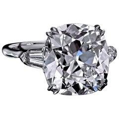 GIA Certified 3 Carat Old Mine Cushion Cut Three-Stone Diamond Ring