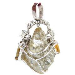 GIA Certified 32.88CT Rough Diamond Pendant 14KT Rare & Yellow Sapphires